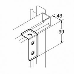 SB502 P1326 90 Degree Channel Bracket, Unistrut compatible, galvanised