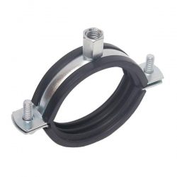 31-37mm Two Piece Rubber Lined Pipe Clamp Steel Zinc Plated, Boss Threaded both M8 & M10