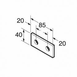 SB507 P1065 Splice Plate 2 Hole, Unistrut compatible, galvanised