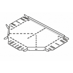 Cable Tray, Equal Tee Medium Return Flange 100mm, Pre-Galvanised