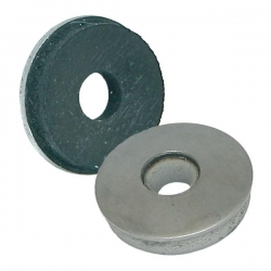 16mm Galvanised Steel Bonded Washer, hole diameter approx 5mm in rubber & 6.5mm in metal