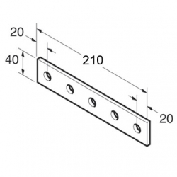 SB510 P1941 Splice Plate 5 Hole, Unistrut compatible, galvanised