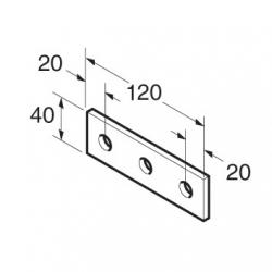 SB508 P1066 Splice Plate 3 Hole, Unistrut compatible, galvanised