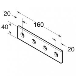 SB509 P1067 Splice Plate 4 Hole, Unistrut compatible, galvanised