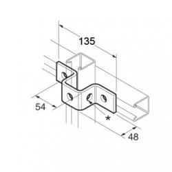 SB515 P1047 40mm U Bracket, Unistrut compatible, galvanised