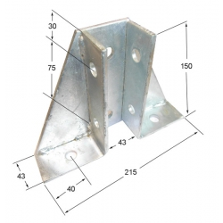 SB702  Single Channel Gussetted Bracket, Unistrut compatible, galvanised
