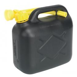 Black 5 Litre Plastic Fuel Can with Pouring Spout