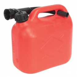 Red 5 Litre Plastic Fuel Can with Pouring Spout