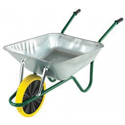 Galvanised 90 Litre Heavy Duty Builders Wheelbarrow with Puncture Proof Wheel in Box