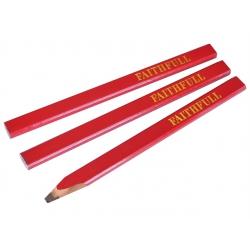 Red / Medium Lead Carpenters Pencils (Pack of 3) FAICPR