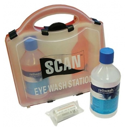 Scan Eye Wash Station Kit 2 x 500ml Saline & Eye Pads SCAFAKEYE