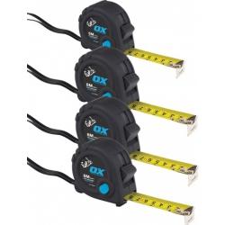 OX Heavy Duty Tape Measures 4 BUNDLE (1 x 5M/16ft & 3 x 8M/26ft)
