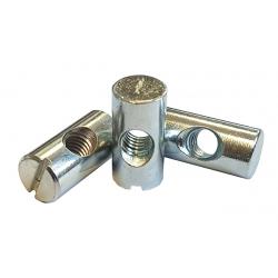 M10 x 28mm Cross Dowel, 15mm Hole (Barrel Nut) Bright zinc plated