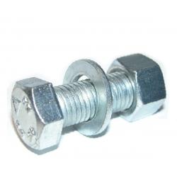 M12 x 50 Hexagon Head Set, Nut & Washer (Assembled Bolt) Grade 8.8 Bright Zinc Plated. CE Approved