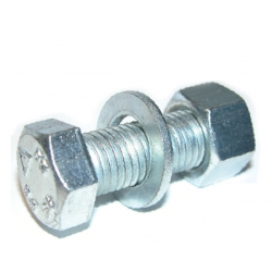 M12 x 30 Hexagon Head Set, Nut & Washer (Assembled Bolt) Grade 8.8 Bright Zinc Plated. CE Approved