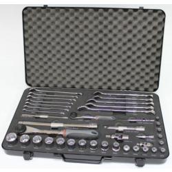 """Westward 41 Piece 1/2"""" & 1/4"""" Socket Set Metal Case MSCC.26ST41"""