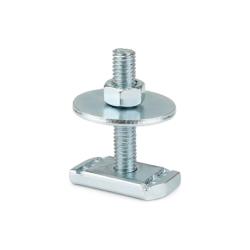 M10 x 40mm Channel stud, nut, & washer. Steel zinc plated. Unistrut compatible