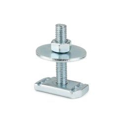M10 x 60mm Channel stud, nut, & washer. Steel zinc plated. Unistrut compatible